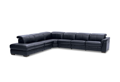 LUCIANO - Leather Corner Lounge with 3 Inbuilt Electric Recliners and Left-Hand Facing Chaise