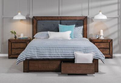 BOULDER - King Bed with 2 Drawer Base Storage