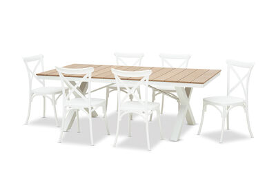 ELWOOD - 7 Piece Outdoor Dining Setting with Skylar Chairs