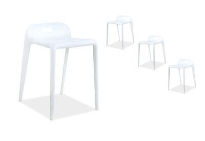 PEGU - Set of 4 White Bar Stools