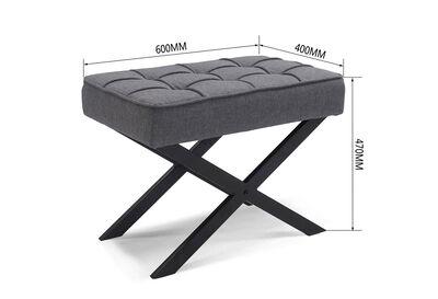 GILES - Grey Upholstered Stool