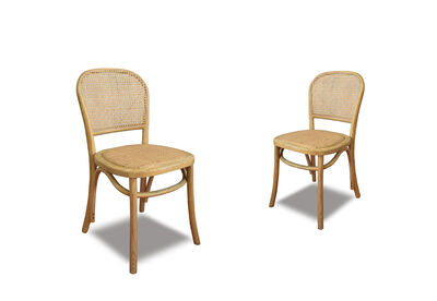 CLEMENT - Set of 2 Natural Dining Chairs