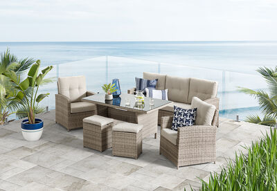 BARBOSA - 6 Piece Outdoor Lounge Dining Setting