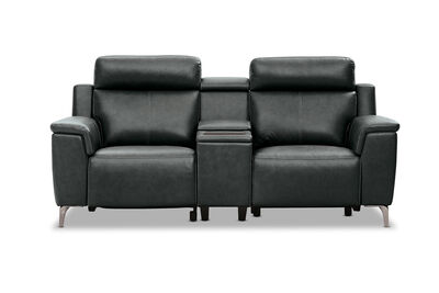 ARISTOTLE - Leather 2 Seater Sofa with Console and 2 Inbuilt Electric Recliners