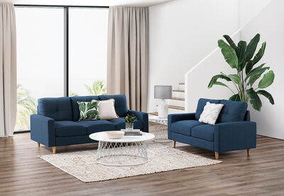 KELLER - Fabric Sofa Pair