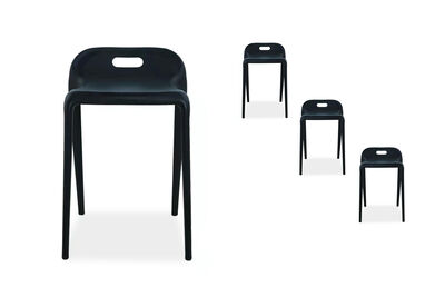 PEGU - Set of 4 Black Bar Stools