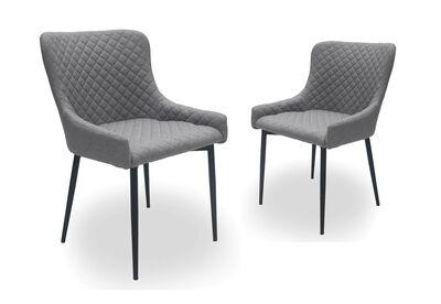 MARTIGNY - Set of 2 Light Grey Dining Chairs