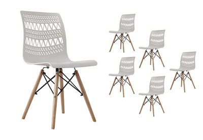 MILA - Set of 6 White Dining Chairs