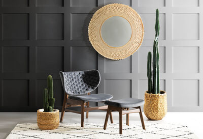 SIRACUSA - Charcoal Accent Chair and Stool Set