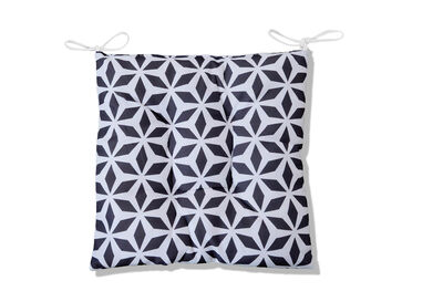 GIFFNOCK - Grey Geo Outdoor Chair Pad with Ties