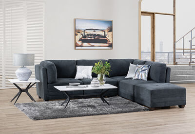 COLTON - Fabric 5 Piece Lounge Setting