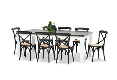 LE FRANSCHHOEK - 9 Piece Dining Suite with Bordeaux Dining Chairs
