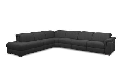 LUCIANO - Fabric Corner Lounge with 3 Inbuilt Electric Recliners and Left-Hand Facing Chaise