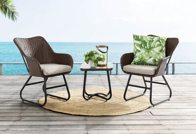 EL CARMEN - 3 Piece Brown Outdoor Setting