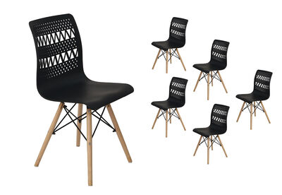 MILA - Set of 6 Black Dining Chairs