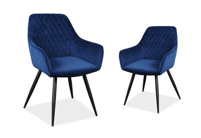 DELPHINE - Set of 2 Navy Dining Chairs