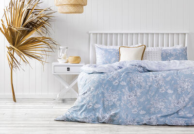 CALISTA BLUE - Queen Bed Quilt Cover Set