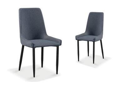 HENRICA - Set of 2 Grey Dining Chairs