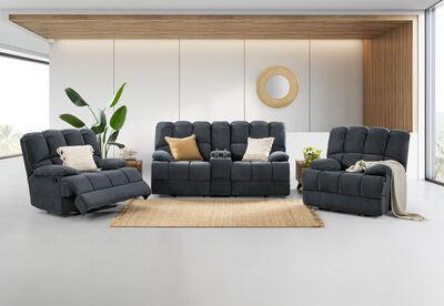 SPARTACUS - Fabric 3 Piece Recliner Suite