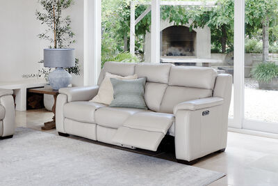 CAPELLO - Leather 3 Seater Sofa with 2 Inbuilt Electric Recliners
