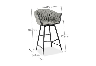 STRUER - Set of 2 Grey Barstools
