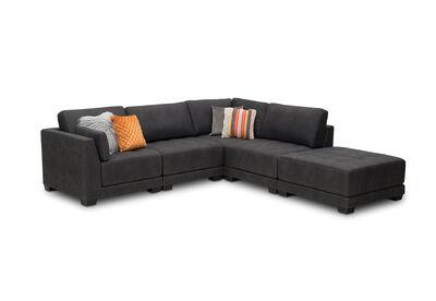 ELEANOR - Fabric 5 Piece Corner Lounge Setting