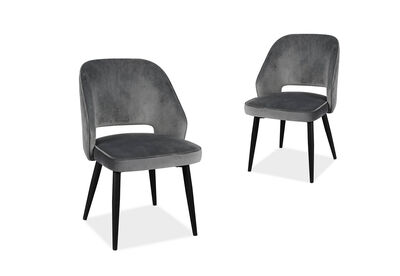 LISLE - Set of 2 Grey Dining Chairs