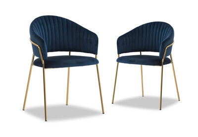 TILCARA - Set of 2 Navy Dining Chairs