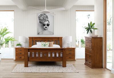 SETTLER - 4 Piece Queen Tall Chest Bedroom Suite
