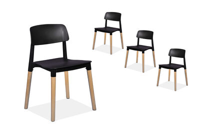 MEADOW - Set of 4 Black Replica Belloch Dining Chairs