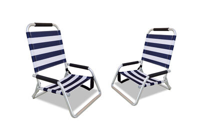 PORTILLO - Set of 2 Blue/White Stripe Beach Chairs