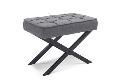 GILES - Grey Upholstered Stool