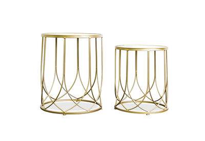 CHARTRES - Set of 2 Mirror Top Lamp Tables