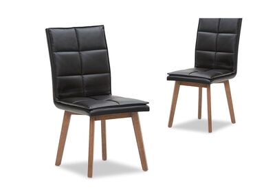 GRATIA - Set of 2 Black Dining Chairs