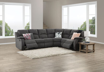 SALOON - Fabric Corner Lounge with Inbuilt Recliners