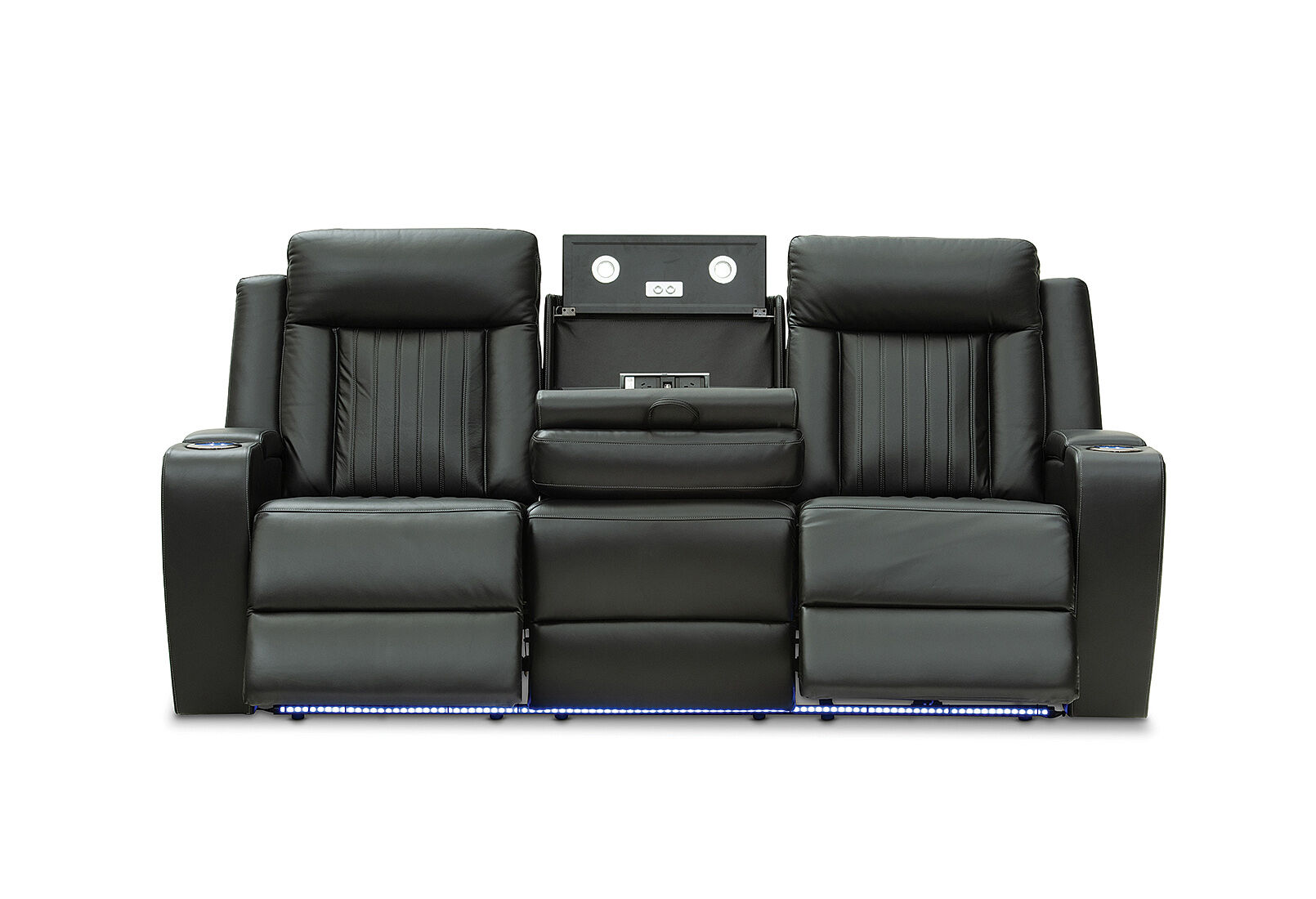 Black Julius Leather 3 Seater With 2 Electric Recliners Amart Furniture