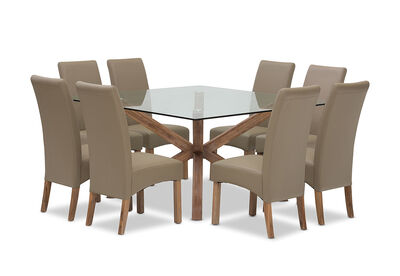 PROMENADE - 9 Piece Dining Room Suite with Silverwood Dining Chairs