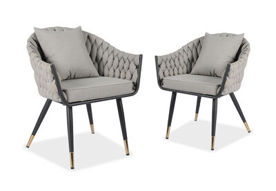 STRUER - Set of 2 Grey Dining Chairs