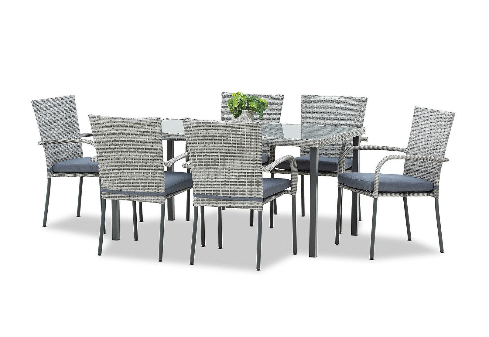 Grey Hamilton 7 Piece Outdoor Dining Setting Amart Furniture