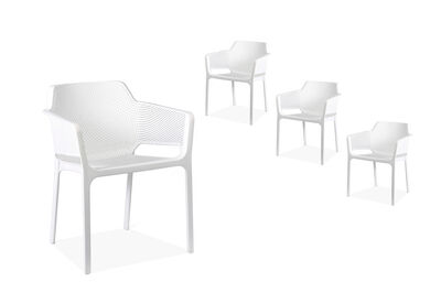 LAVAL - Set of 4 White Dining Chairs