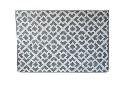 FLORIAN - Grey Interlocked Squares Outdoor Rug