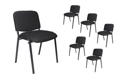 NORBERT - Set of 6 Black Conference Chairs