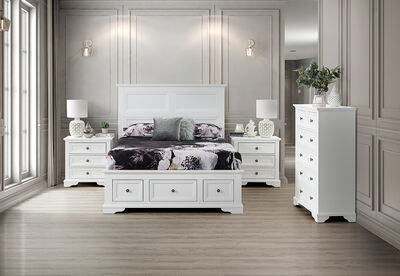 CHANELLE - 4 Piece Queen Tall Chest Bedroom Suite