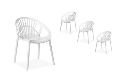 LILLE - Set of 4 White Dining Chairs