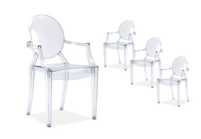 MIETTE - Set of 4 Replica Philippe Starck Louis Ghost Armchairs
