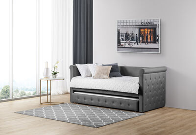 CONSTANCE - Grey Single Day Bed with Trundle
