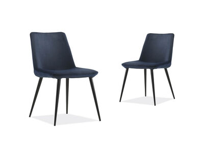 ALLAMINO - Set of 2 Blue Dining Chairs