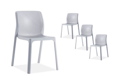 SINGLETON - Set of 4 Grey Outdoor Chairs