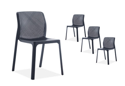 SINGLETON - Set of 4 Black Outdoor Chairs
