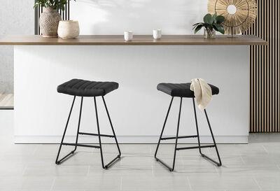 MADEIRA - Set of 2 Black Bar Stools